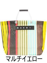 MARNI MARNI MARKET Stripes Bi-color Logo Totes
