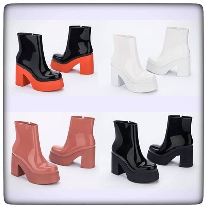 Platform Rubber Sole Unisex Bi-color Plain Block Heels