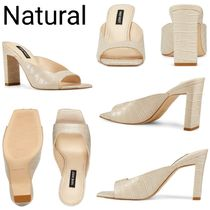 Nine West Open Toe Casual Style Plain Other Animal Patterns Leather