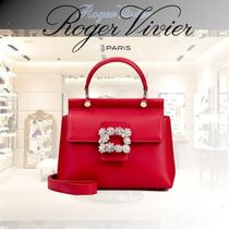 Roger Vivier Casual Style 2WAY Plain Leather Party Style With Jewels