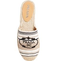 PRADA Stripes Platform Rubber Sole Casual Style Office Style