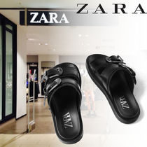 ZARA Casual Style Street Style Leather Sandals Sandal