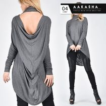 Aakasha Long Sleeves Plain Medium Super-long Sleeves Turtlenecks