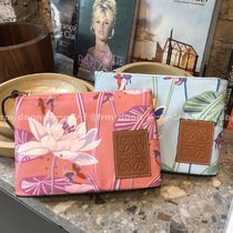 LOEWE Flower Patterns Canvas Logo Pouches & Cosmetic Bags