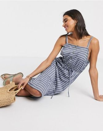 Stripes Casual Style Sleeveless Medium Slip Dresses Dresses