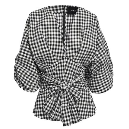 PAPER London Gingham Puff Sleeves Shirts & Blouses