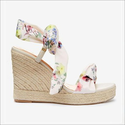 Flower Patterns Open Toe Casual Style Leather Party Style