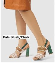 Coach Stripes Open Toe Casual Style Leather Block Heels