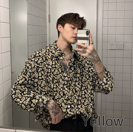 Flower Patterns Street Style Long Sleeves Oversized Shirts