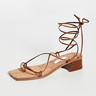 Open Toe Plain Leather Block Heels Elegant Style Sandals