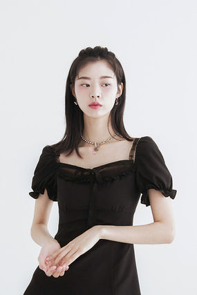 Short Casual Style Street Style Plain Short Sleeves Lace
