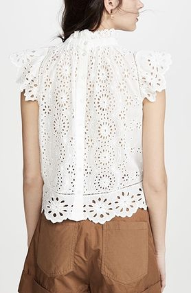 Flower Patterns Casual Style Plain Cotton Lace Elegant Style