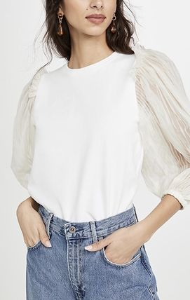 Casual Style Blended Fabrics Long Sleeves Plain Cotton Lace