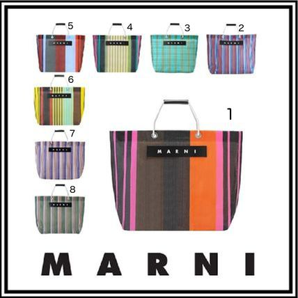 Stripes Casual Style Nylon A4 Leather Logo Totes