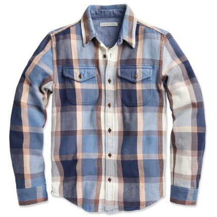 Button-down Other Plaid Patterns Long Sleeves Cotton