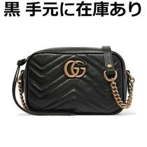 GUCCI GG Marmont Casual Style Leather Elegant Style Crossbody Logo