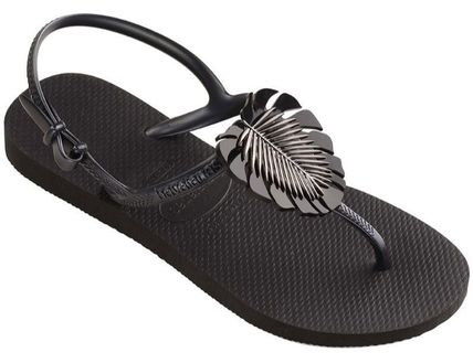 Tropical Patterns Open Toe Platform Rubber Sole Casual Style