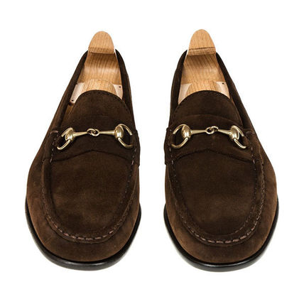 Loafers Suede Plain Leather U Tips Loafers & Slip-ons