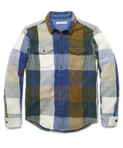 Outer known Button-down Other Plaid Patterns Long Sleeves Cotton