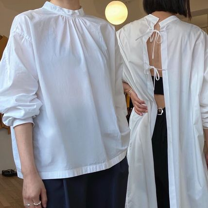 Casual Style Street Style Long Sleeves Plain Cotton Long