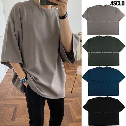ASCLO More T-Shirts Street Style Collaboration Plain Short Sleeves T-Shirts