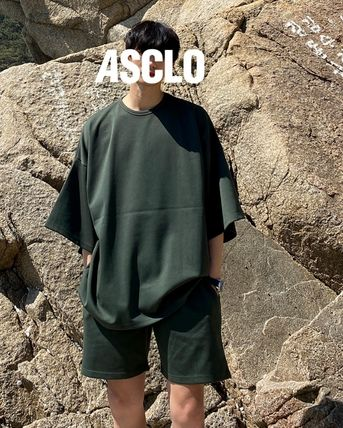 ASCLO More T-Shirts Street Style Collaboration Plain Short Sleeves T-Shirts 2