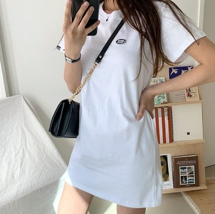 Short Casual Style Plain Short Sleeves Logo Dresses
