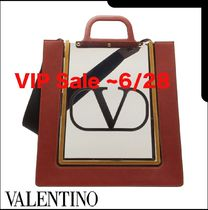 VALENTINO SHOPPING Casual Style Leather PVC Clothing Office Style Logo Totes