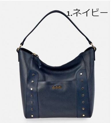Casual Style Studded 2WAY Plain Leather Office Style