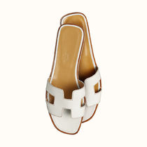 HERMES Oran Open Toe Plain Leather Elegant Style Sandals