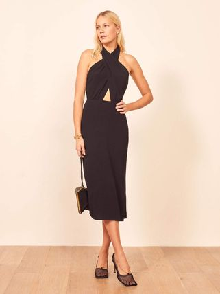 Casual Style A-line Sleeveless Halter Neck Street Style