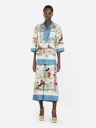 GUCCI Flower Patterns Casual Style Silk Other Animal Patterns