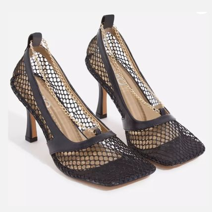 Square Toe Plain Clear Flame Heeled Sandals