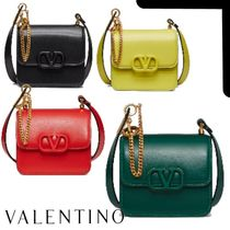 VALENTINO  VSLING Casual Style Calfskin Chain Plain Leather Elegant Style