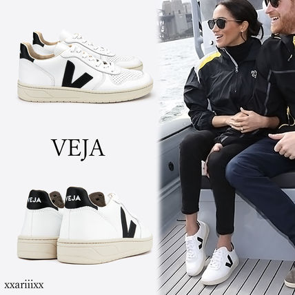 Rubber Sole Casual Style Plain Leather Logo Low-Top Sneakers