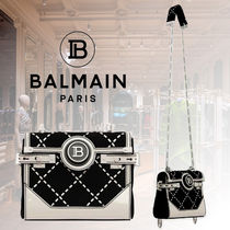 BALMAIN Calfskin Party Style Elegant Style Crossbody Logo Backpacks