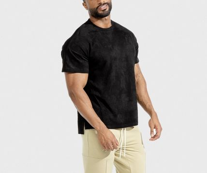 Crew Neck Suede Street Style Plain Short Sleeves Workout