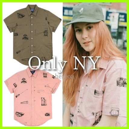 Button-down Street Style Cotton Short Sleeves Skater Style