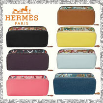 HERMES Silk In Leather Long Wallet  Long Wallets