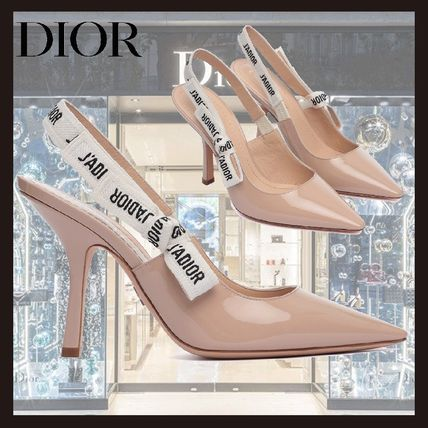 Christian Dior Logo Casual Style Blended Fabrics Plain Pin Heels