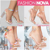 FASHION NOVA Open Toe Plain Block Heels Heeled Sandals