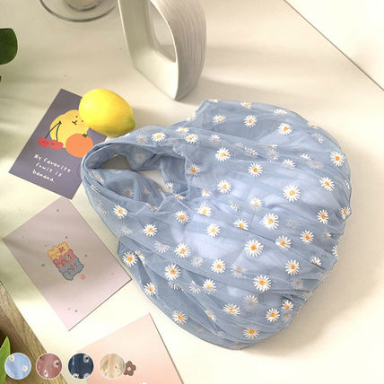 Icy Color Sheer Flower Patterns Nylon Shoppers