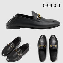 GUCCI Rubber Sole Casual Style Unisex Street Style Leather