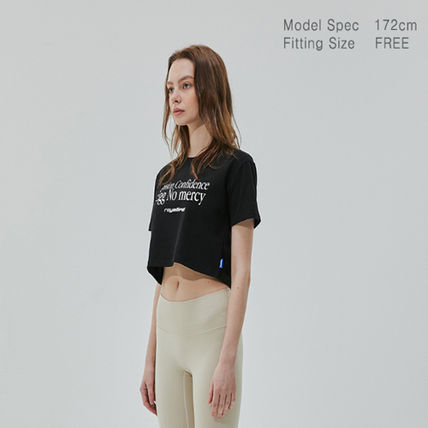 Short Street Style Cotton Short Sleeves Logo Cropped