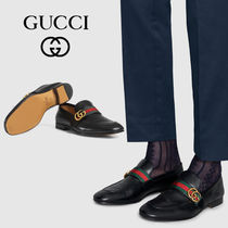 GUCCI Loafers Unisex Street Style Leather Logo Oxfords