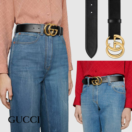 GUCCI Casual Style Unisex Blended Fabrics Street Style Leather