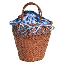 Dragon Diffusion Gingham Blended Fabrics Bag in Bag 2WAY Leather Straw Bags