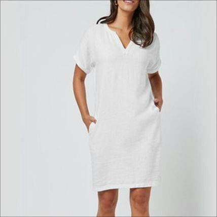 Short Casual Style A-line Linen Flared V-Neck Plain Medium