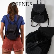 AFENDS Casual Style Canvas Street Style Plain Logo Backpacks