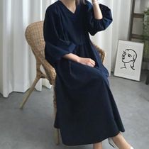 Casual Style Maxi A-line Linen Dolman Sleeves Flared